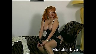 Old granny masturbate in front of Camera