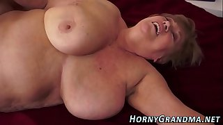 Tubby granny jizz mouthed