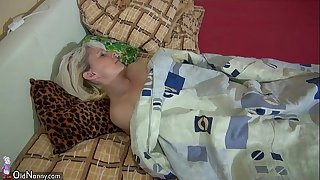 OldNanny Old skinny woman masturbating with young girl and her boyfriend