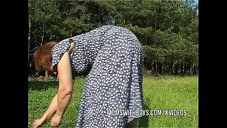 Old Mature Outdoor Fucked In the Grass