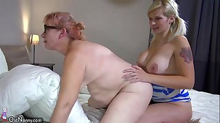 OldNanny Two horny lesbian woman is enjoying with strapon