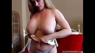 Beautiful big tits old spunker rubs her juicy muff until she cums