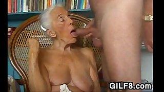 Naughty Grandma Giving A Blowjob At Home