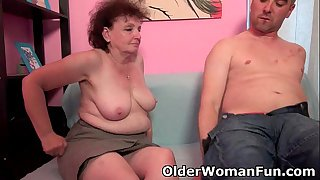 Chubby grandma enjoys his cock in her mouth and pussy