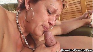 Interracial threesome sex with hot grandma