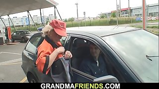 Working mature woman outdoor threesome
