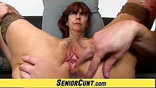 Grandma Lada a zoomed old hairy vagina fingering