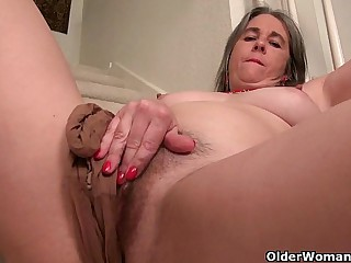 Naughty granny Bossy Rider loves fingering her asshole