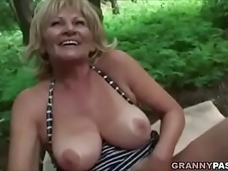 Busty Granny Gets Fucked In The Forest