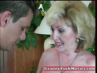 experienced Granny sucking amateur penis