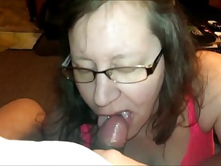 Granny Amateur With Glasses Swallowing Cum POV