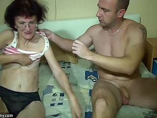 Young Girl and old Granny have fun in bathroom