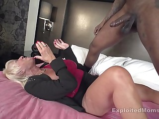 Mature Granny w Big Tits fucks Big Black Cock in Interracial Video