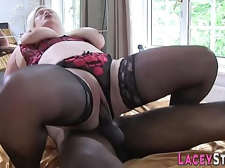 Granny gobbles big black cock and gets banged