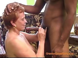Interracial Gangbang with a Horny Granny Part 1
