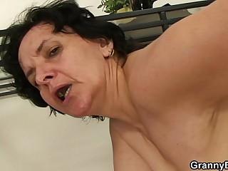 Skinny granny riding his cock