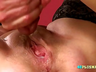 Granny Enjoys Huge Dick and Creampie