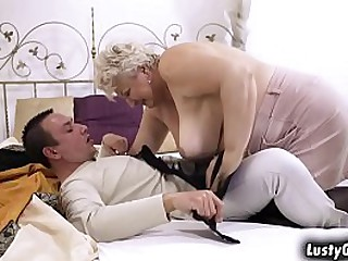 Busty granny Astrid welcomes grandson with a hot sex