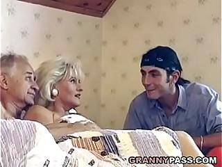 Older mature couple  threesome