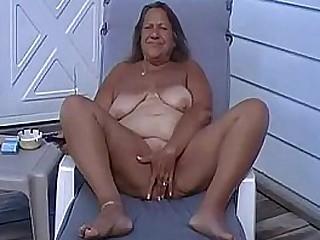 Tan BBW Granny Masturbate Outside