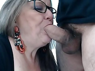See her live on: Vexcams.com Horny granny enjoyes sucking cock