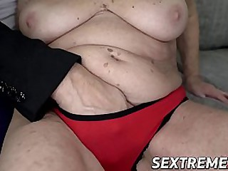 Busty granny slammed until facial