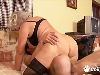 Granny whore degluting and banging massive dick
