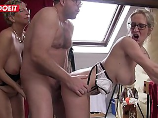 Blonde German Granny gets fucked in hardcore Threesome