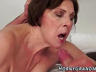 Showering granny facial