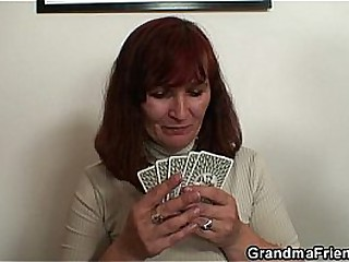 Granny loses poker and swallows two cocks