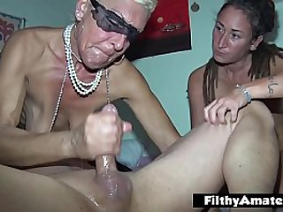 The wealthy old woman participates in amateur orgy