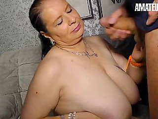 AMATEUR EURO - Hot Brunette BBW Hanne Blows And Rides His New Life Partner Hardcore