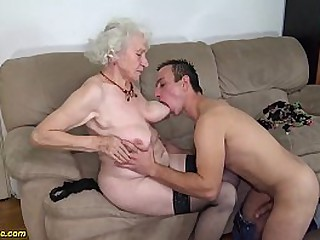 chubby 91 years old hairy granny norma with big saggy tits gets rough fucked by her young big cock toyboy