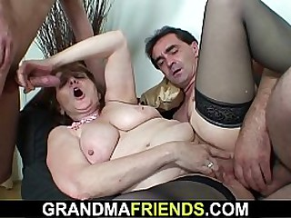 Old office granny double banging