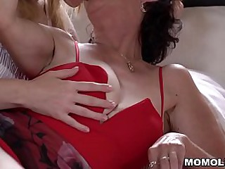 Old and lusty granny Pixie licking young pussy