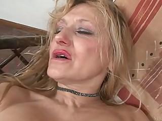Blond granny masturbated with big dildo