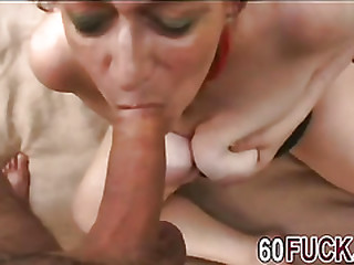 Horny redhead granny rubs her pussy and sucks cock in outdoor action