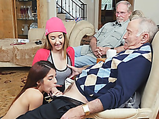 Oldies lucky day loving two horny slut college girls