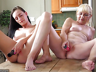 Oldnanny Old and sexy woman shower and masturbating pussy with dildo