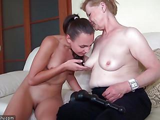 OldNanny BBw senior fucking with sexy lesbian girl
