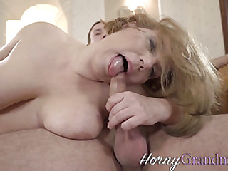 Old woman blows hard cock
