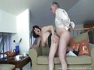 Busty Granny Ivana Spunked Right On Her Tight Hairy Pussy