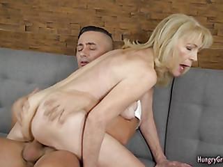 Hot blonde gramma gets fucked by boy stud