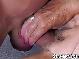 Horny granny deepthroats big fat cock