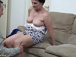 hairy 86 years old grandma gets rough fucked by her young strong cock step grandson