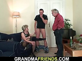 Old granny loves taking two cocks