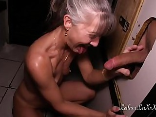 Granny sucking cock from glory holes