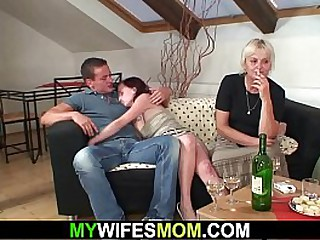 Old granny seduces son-in-law