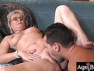 Granny Elvira sucks John's boner like a pro