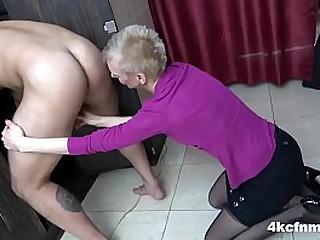CFNM Granny Rimming in the Locker Room